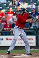 Oklahoma City RedHawks outfielder Robbie Grossman (3) at bat during the Pacific Coast League baseball game against the Round Rock Express on July 9, 2013 at the Dell Diamond in Round Rock, Texas. Round Rock defeated Oklahoma City 11-8. (Andrew Woolley/Four Seam Images)