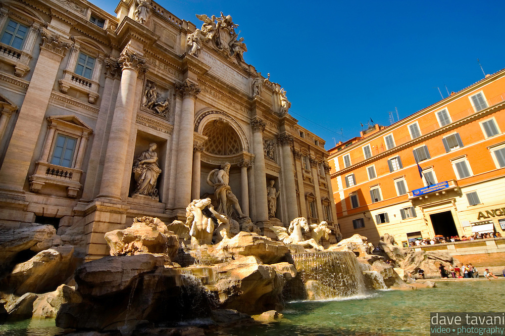 The Trevi Fountain is a big tourist attraction in Rome, Italy.