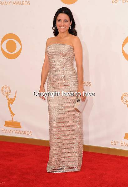 Julia Louis-Dreyfus arrives at the 65th Primetime Emmy Awards at Nokia Theatre on Sunday Sept. 22, 2013, in Los Angeles.<br /> Credit: MediaPunch/face to face<br /> - Germany, Austria, Switzerland, Eastern Europe, Australia, UK, USA, Taiwan, Singapore, China, Malaysia, Thailand, Sweden, Estonia, Latvia and Lithuania rights only -