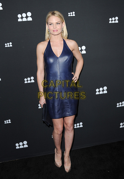 Jennifer Morrison<br /> The Myspace Event held at The El Rey Theatre in Los Angeles, California, USA.<br /> June 12th, 2013   <br /> full length blue halterneck leather dress hand on hip beige shoes  <br /> CAP/DVS<br /> &copy;DVS/Capital Pictures