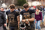 ANSONIA, CT. 02 December 2018-120218 - Ansonia players and brothers Tyler Cafaro #17 and Garrett Cafaro #86 walk off the field together disappointed after getting beat by Bloomfield 26-19 during the Class S Semi-final game between Bloomfield and Ansonia at Ansonia High School in Ansonia on Sunday. Bill Shettle Republican-American