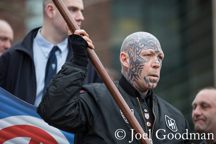 """© Joel Goodman - 07973 332324 . NO SYNDICATION PERMITTED . 21/03/2015 . Newcastle , UK . Neo-Nazis and skinheads from across Europe organise a """" White Man March """" in Newcastle , under the banner of """" National Action """" . Photo credit : Joel Goodman"""