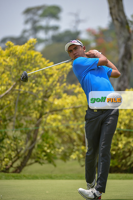 Naraajie Emerald RAMADHAN (INA) watches his tee shot on 3 during Rd 2 of the Asia-Pacific Amateur Championship, Sentosa Golf Club, Singapore. 10/5/2018.<br /> Picture: Golffile | Ken Murray<br /> <br /> <br /> All photo usage must carry mandatory copyright credit (© Golffile | Ken Murray)