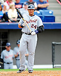9 March 2010: Detroit Tigers' infielder Miguel Cabrera in action during a Spring Training game against the Washington Nationals at Space Coast Stadium in Viera, Florida. The Tigers defeated the Nationals 9-4 in Grapefruit League action. Mandatory Credit: Ed Wolfstein Photo