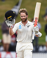 3rd December, Hamilton, New Zealand;  New Zealand captain Kane Williamson celebrates his century during play on day 5 of the 2nd test cricket match between New Zealand and England at Seddon Park, Hamilton, New Zealand.