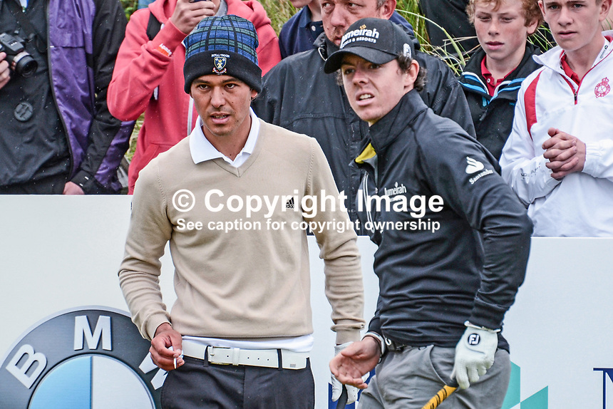 Rory McIlroy, professional golfer, N Ireland, right, had as his playing partner, leading amateur, Harry Diamond, from Holywood, Co Down, Rory's home town on a practice day, 26th June 2012, at the Irish Open at the Royal Portrush Golf Club. Harry, a member of the Belvoir Park club in Belfast recently won the West of Ireland Amateur Open Championship. 201206260141.<br />