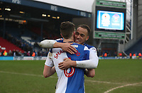 Blackburn Rovers' Elliott Bennett and Blackburn Rovers' Richard Smallwood  celebrates their win at the end of the match<br /> <br /> <br /> Photographer Rachel Holborn/CameraSport<br /> <br /> The EFL Sky Bet League One - Blackburn Rovers v Blackpool - Saturday 10th March 2018 - Ewood Park - Blackburn<br /> <br /> World Copyright &copy; 2018 CameraSport. All rights reserved. 43 Linden Ave. Countesthorpe. Leicester. England. LE8 5PG - Tel: +44 (0) 116 277 4147 - admin@camerasport.com - www.camerasport.com