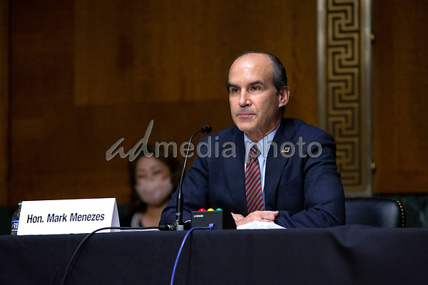 Mark Menezes testifies before the U.S. Senate Committee on Energy and Natural Resources on Capitol Hill in Washington D.C., U.S., as they consider his nomination to be Deputy Secretary of the U.S. Department of Energy on Wednesday, May 20, 2020.  Credit: Stefani Reynolds / CNP/AdMedia