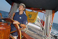 "- campaign ""Green Schooner"" for pollution monitoring in Italian seas waters, organized by enviromentalist association ""Legambiente""; on board of schooner ""Catholica"" (year of construction 1936)..- campagna ""Goletta Verde"" per monitorare l'inquinamento delle acque nei mari organizzata dall'associazione ambientalista italiana ""Legambiente""; a bordo della goletta ""Catholica"" (anno di costruzione 1936)"