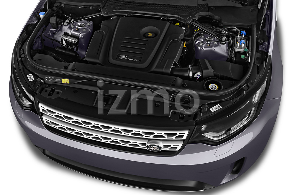 Car stock 2018 Land Rover Discovery HSE 5 Door SUV engine high angle detail view