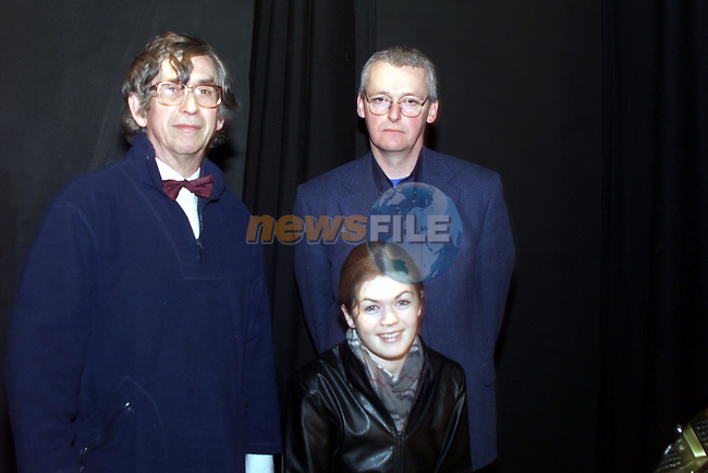 Nicola Cassidy (ctr), student at Greenhills school pictured with her music teacher, Paul Brennan, right, and Colin Mawby, conductor of the national chamber choir, at the Bus Eireann composition workshop in the Drogheda Arts centre..pic: Newsfile