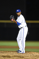 Dunedin Blue Jays pitcher Alberto Tirado (46) gets ready to deliver a pitch during a game against the Clearwater Threshers on April 10, 2015 at Florida Auto Exchange Stadium in Dunedin, Florida.  Clearwater defeated Dunedin 2-0.  (Mike Janes/Four Seam Images)