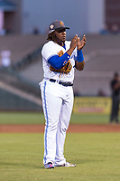 AFL West third baseman Vladimir Guerrero Jr. (27), of the Surprise Saguaros and Toronto Blue Jays organization, during the Arizona Fall League Fall Stars game at Surprise Stadium on November 3, 2018 in Surprise, Arizona. The AFL West defeated the AFL East 7-6 . (Zachary Lucy/Four Seam Images)