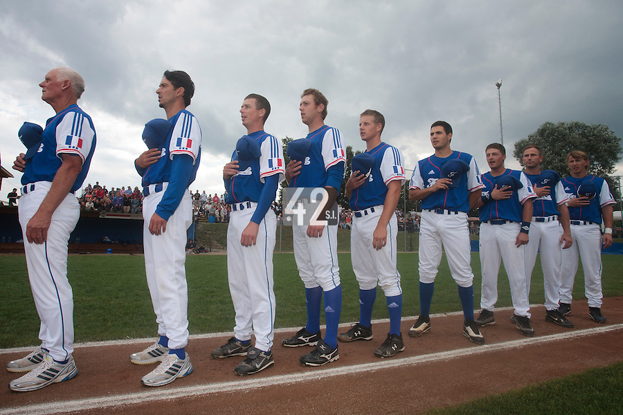 24 july 2010: Team France stands during the National Anthem prior to Netherlands 10-0 victory over France, in day 2 of the 2010 European Championship Seniors, in Neuenburg, Germany.