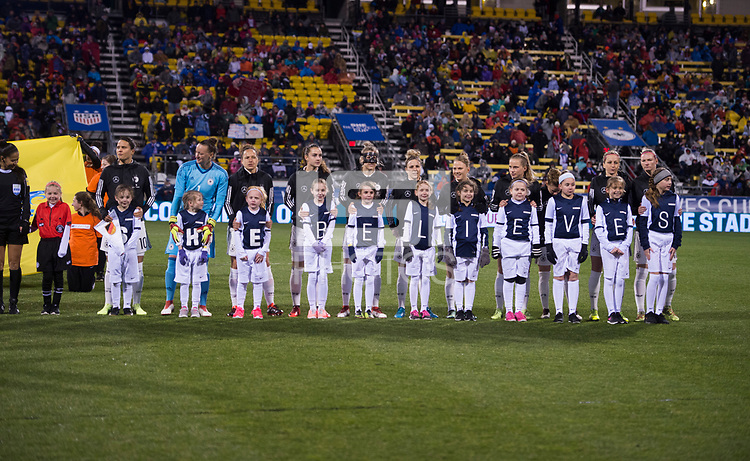 Columbus, OH - March 1, 2018: The USWNT defeated Germany 1-0 during the first match of the SheBelieves Cup at Mapfre Stadium.Columbus, OH - March 1, 2018: The USWNT defeated Germany 1-0 during the first match of the SheBelieves Cup at Mapfre Stadium.