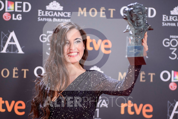 Silvia Perez Cruz pose to the media with the Goya award at Madrid Marriott Auditorium Hotel in Madrid, Spain. February 04, 2017. (ALTERPHOTOS/BorjaB.Hojas)