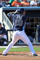 Tampa Bay Rays designated hitter Matt Joyce #20 during a spring training game against the Baltimore Orioles at the Charlotte County Sports Park on March 5, 2012 in Port Charlotte, Florida.  (Mike Janes/Four Seam Images)