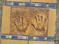 Hand print of the film star, Catherine Deneuve, outside the Palais des Festivals et des Congres, Cannes, France.