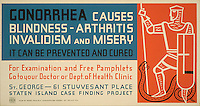 Work Projects Administration (WPA) poster for gonorrhea produced between 1936 and 1943. (Library of Congress)
