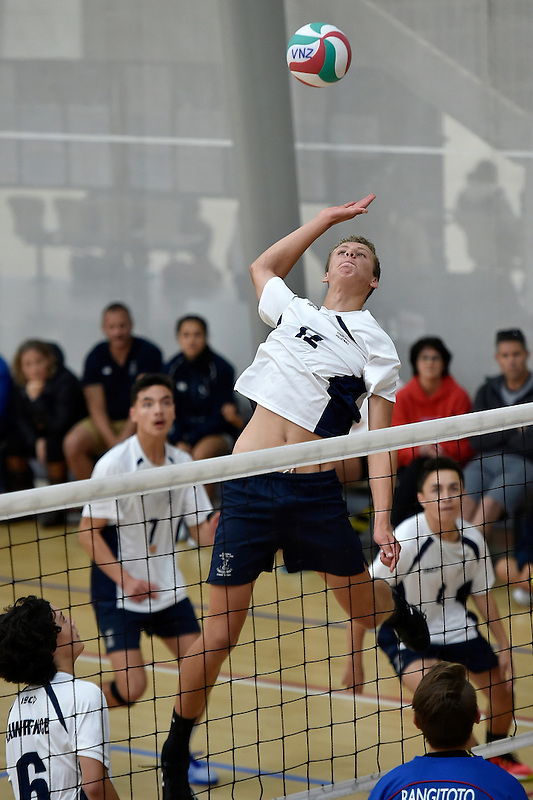 Action from the Volleyball - North Island Junior Secondary School Championship at ASB Sports Centre, Wellington, New Zealand on Friday 27 November 2015.<br /> Photo by Masanori Udagawa. <br /> www.photowellington.photoshelter.com.