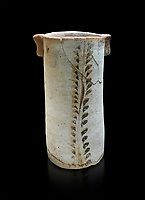 Minoan cylindrical vessel decorated with leafy bands, Akrotiri, Thira (Santorini) National Archaeological Museum Athens. 17th-16th cent BC.<br /> <br /> The vessels bottom is pierced so was probably used like a rhython during ceremonies.