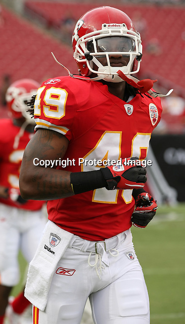 Kansas City Chief's safety Kendrick Lewis warms up prior to the game against the Tampa Bay Buccaneers. The Buccaneers defeated the Chiefs  20-15 during an NFL preseason game Saturday, Aug. 21, 2010 in Tampa,Fla. (AP Photo/Margaret Bowles).