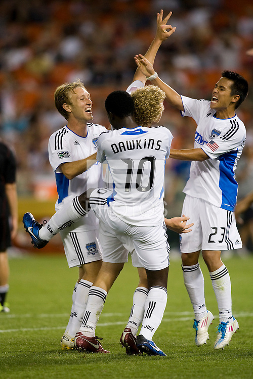 Steven Lenhart (24) of the San Jose Earthquakes celebrates his hat trick with teammates during the game at RFK Stadium in Washington, DC.  D.C. United was defeated by the San Jose Earthquakes, 4-2.
