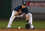 Reno Aces' Nick Ahmed makes a play against the Las Vegas 51s, in Reno, Nev., on Saturday, Sept. 6, 2014. The Aces won 7-3, to win the Pacific Conference Championship Series. <br /> Photo by Cathleen Allison