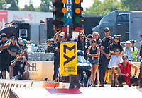 Jul 28, 2019; Sonoma, CA, USA; Crew members and family for NHRA pro stock motorcycle rider Jianna Salinas during the Sonoma Nationals at Sonoma Raceway. Mandatory Credit: Mark J. Rebilas-USA TODAY Sports