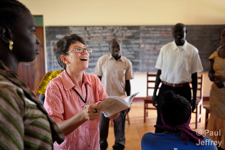 Sister Sandra Amado, a Comboni sister from Brazil, teaches a class at a teacher training institute in Yambio, South Sudan. The newly independent country faces a critical shortage of trained teachers, and several religious groups are pitching in to help. Sister Amado is a volunteer with Solidarity with South Sudan, an international network of Catholic groups providing training for teachers, health care workers, and pastoral agents in South Sudan.