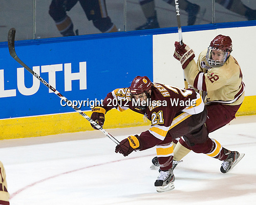 Caleb Herbert (Duluth - 21), Kevin Hayes (BC - 12) - The Boston College Eagles defeated the University of Minnesota Duluth Bulldogs 4-0 to win the NCAA Northeast Regional on Sunday, March 25, 2012, at the DCU Center in Worcester, Massachusetts.