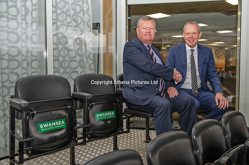 Trevor Birch Chairman of Swansea City with Alun Williams Chief Executive of Swansea Building Society during the Sky Bet Championship match between Swansea City and Millwall at the Liberty Stadium in Swansea, Wales, UK. Saturday 23rd November 2019