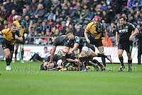 Ospreys Rhys Webb gets the ball away from a ruck. Liberty Stadium, Swansea, South Wales 12.01.14. Ospreys v Northampton Heineken Cup round 5 pool 1 - pIc credit Jeff Thomas photography