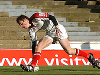 2005/06, Heineken Cup, 4th Rd, Tommy Bowe touches down for Ulster in the first half, as Saracens vs Ulster at Vicarage Road, ENGLAND   © Peter Spurrier/Intersport Images - email images@intersport-images..
