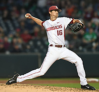 NWA Democrat-Gazette/ANDY SHUPE<br />Arkansas starter Blaine Knight delivers a pitch against Mississippi State Friday, March 17, 2017, during the fourth inning at Baum Stadium in Fayetteville. Visit nwadg.com/photos to see more photographs from the game.