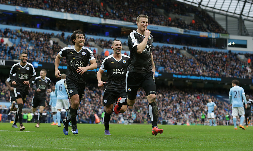 Leicester City's Robert Huth celebrates scoring his second and his sides third goal with team-mates Shinji Okazaki (left) and Daniel Drinkwater<br /> <br /> Photographer Stephen White/CameraSport<br /> <br /> Football - Barclays Premiership - Manchester City v Leicester City - Saturday 6th February 2016 -  Etihad Stadium - Manchester<br /> <br /> &copy; CameraSport - 43 Linden Ave. Countesthorpe. Leicester. England. LE8 5PG - Tel: +44 (0) 116 277 4147 - admin@camerasport.com - www.camerasport.com