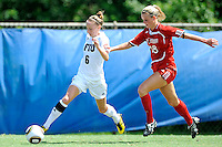 26 September 2010:  FIU's April Perry (6) beats ASU's Chelsea Fricke (18) to the ball in the first half as the FIU Golden Panthers defeated the Arkansas State Red Wolves, 1-0 in double overtime, at University Park Stadium in Miami, Florida.