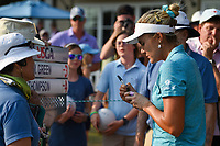 Lexi Thompson (USA) signs a ball for a fan following round 4 of the 2019 US Women's Open, Charleston Country Club, Charleston, South Carolina,  USA. 6/2/2019.<br /> Picture: Golffile | Ken Murray<br /> <br /> All photo usage must carry mandatory copyright credit (© Golffile | Ken Murray)