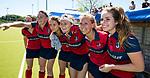 NIJMEGEN -  Iris Aalbers (Huizen), Mandy Visser (Huizen), Loulou van de Kasteele (Huizen) , Kaya Lucker (Huizen) , Lara Kok (Huizen), Anouk Bekkers (Huizen) na   de tweede play-off wedstrijd dames, Nijmegen-Huizen (1-4), voor promotie naar de hoofdklasse.. Huizen promoveert naar de hoofdklasse.  COPYRIGHT KOEN SUYK