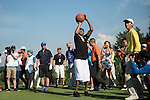 Allen Iverson plays basketball at the 17th hole during the World Celebrity Pro-Am 2016 Mission Hills China Golf Tournament on 22 October 2016, in Haikou, China. Photo by Weixiang Lim / Power Sport Images