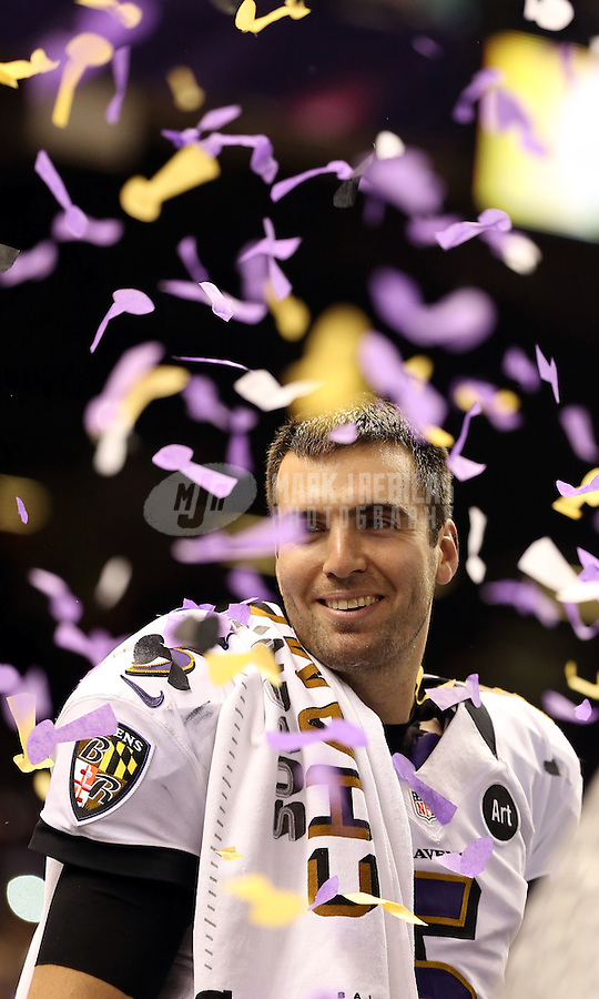 Feb 3, 2013; New Orleans, LA, USA; Baltimore Ravens quarterback Joe Flacco after defeating the San Francisco 49ers in Super Bowl XLVII at the Mercedes-Benz Superdome. Mandatory Credit: Mark J. Rebilas-