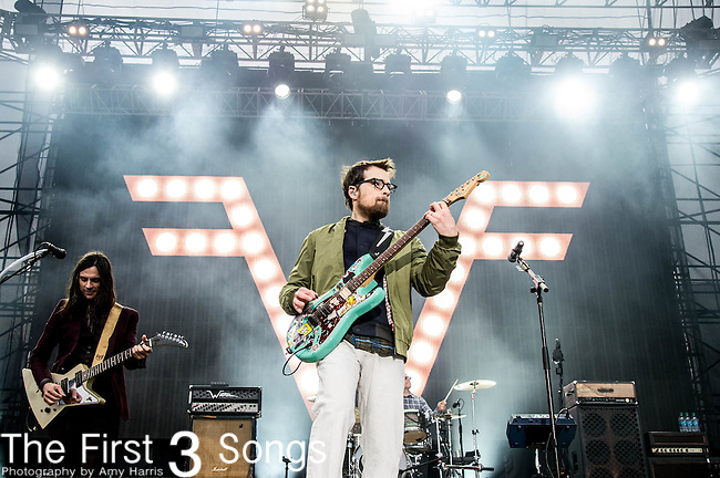 Rivers Cuomo of the rock band Weezer performs at White River State Park in Indianapolis, Indiana.