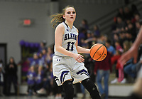 Elkins Emily Philip (3) drives the ball down the court, Friday, February 14, 2020 during a basketball game at Elkins High School in Elkins. Check out nwaonline.com/prepbball/ for today's photo gallery.<br /> (NWA Democrat-Gazette/Charlie Kaijo)