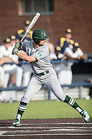 Eastern Michigan Eagles outfielder Jordan Peterson (3) at bat during the NCAA baseball game against the Michigan Wolverines on May 16, 2017 at Ray Fisher Stadium in Ann Arbor, Michigan. Michigan defeated Eastern Michigan 12-4. (Andrew Woolley/Four Seam Images)