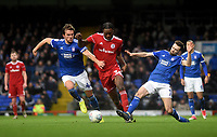 Accrington Stanley's Jerome Opoku battles with Ipswich Town's Emyr Huws and Gwion Edwards<br /> <br /> Photographer Hannah Fountain/CameraSport<br /> <br /> The EFL Sky Bet League One - Ipswich Town v Accrington Stanley - Saturday 11th January 2020 - Portman Road - Ipswich<br /> <br /> World Copyright © 2020 CameraSport. All rights reserved. 43 Linden Ave. Countesthorpe. Leicester. England. LE8 5PG - Tel: +44 (0) 116 277 4147 - admin@camerasport.com - www.camerasport.com