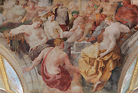 Fresco of Phaeton asking the sun to leave his chariot, painted c. 1552 by Niccolo dell'Abatte after drawings by Primaticcio, in the Ballroom or Galerie Henri II, Chateau de Fontainebleau, France. The Palace of Fontainebleau is one of the largest French royal palaces and was begun in the early 16th century for Francois I. It was listed as a UNESCO World Heritage Site in 1981. Picture by Manuel Cohen