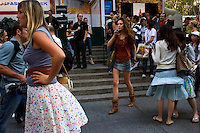 NEW YORK - SEPT 11:  People get ready for the Alexandre Hercovitch show at Bryant Park on September 11, 2005 in New York City. (Photo By Landon Nordeman)