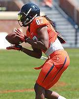 Virginia wide receiver Kyle Dockins (87) catches the ball during the annual Virginia football Orange-Blue Spring Game Saturday at Scott Stadium in Charlottesville, VA. Photo/The Daily Progress/Andrew Shurtleff