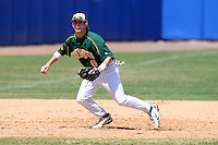 March 14, 2010:  Infielder/Catcher Tanner Adam (6) of North Dakota State University Bison vs. Akron University at Chain of Lakes Park in Winter Haven, FL.  Photo By Mike Janes/Four Seam Images