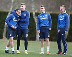 Fraser Aird laughing with Kyle Hutton, David Templeton and Andy Mitchell after almost losing his shorts